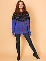 Vintage Rosettes & Beaded Fringed Knit Sweater