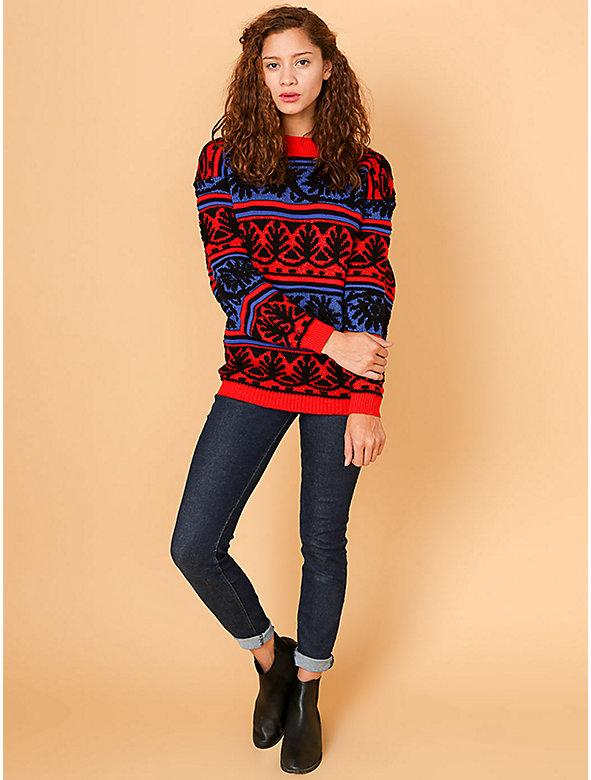Vintage Bold Patterned Stripes Knit Sweater