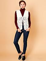 Vintage Open Knit Crocheted Sweater Vest