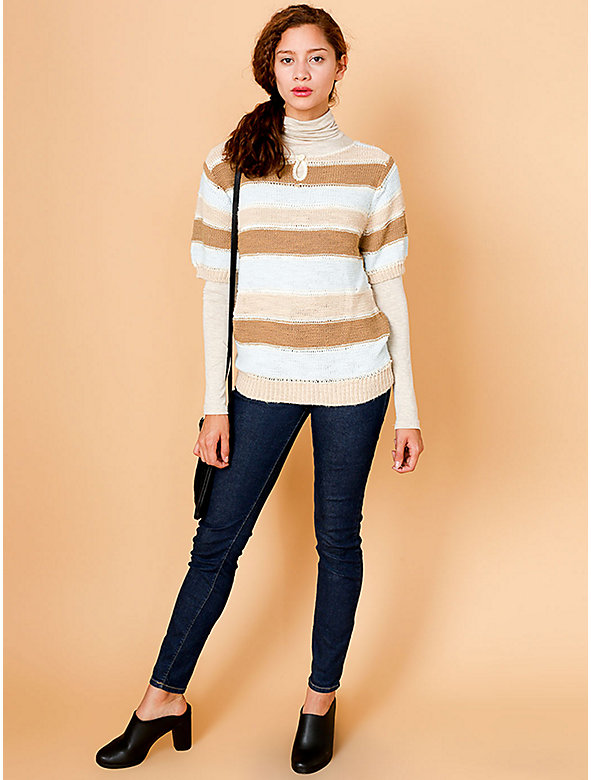 Vintage Striped Short-Sleeve Sweater