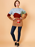 Vintage Girl in Red Wool Sweater