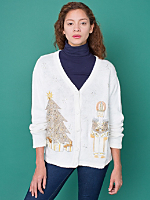 Vintage White Christmas V-Neck Cardigan