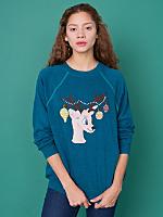 Vintage Hand-Painted Reindeer Christmas Sweatshirt