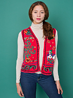 Vintage Beaded Rocking Horse Christmas Sweater Vest