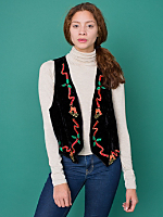 Vintage Holly Velvet Christmas Vest