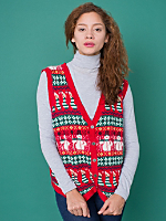 Vintage Patterned Christmas Sweater Vest