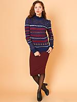 Vintage Ruffled Knit Turtleneck Sweater