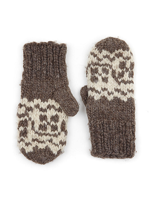 Vintage Cowichan Hand-Knit Wool Mittens