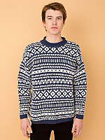 Vintage Patterned Rollneck Cotton Sweater