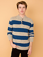 Vintage Marled Rugby Stripe Wool Blend Sweater
