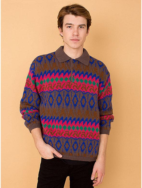Vintage Benetton Fair Isle Collared Wool Sweater