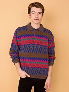 Vintage Benetton Fair Isle Collared Wool Sweater