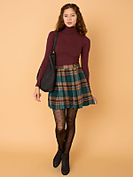 California Select Originals Plaid Wool Mini Skirt