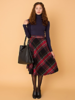 Vintage Plaid Wool Mid-Length Skirt