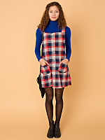 California Select Originals Plaid Pinafore Dress