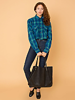 California Select Originals Cropped Flannel Button-Up