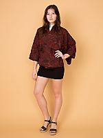 Vintage Abstract Print Silk Haori Kimono Jacket