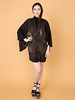 Vintage Metallic Silk Haori Kimono Jacket