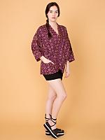 Vintage Lightweight Abstract Print Haori Kimono Jacket