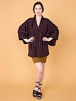 Vintage Hand-Sewn Striped Silk Haori Kimono Jacket