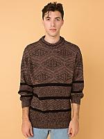 Vintage Marled Geometric Knit Sweatshirt