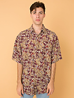 Vintage Mixed Prints Short-Sleeve Silk Button-Up