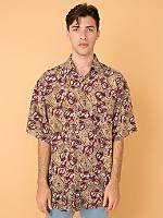Vintage Mixed Prints Short-Sleeve Silk Button-Up