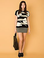 Vintage Abstract Short-Sleeve Knit Sweater