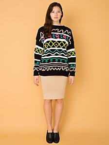 Vintage Doodle Trim Knit Sweater
