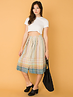 Vintage Pleated Mid-Length Wool Skirt