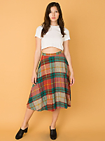 Vintage Plaid Mid-Length Wool Skirt
