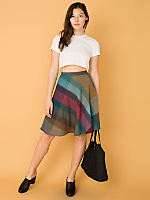 Vintage Plaid A-Line Wool Skirt