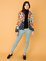 Vintage Rose Print Hooded Zip-Up Jacket