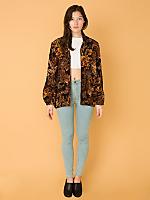 Vintage Oversized Leaf Print Hooded Zip-Up Jacket