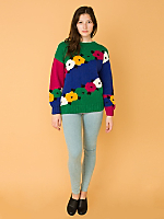 Vintage Bright Floral Cotton Knit Sweater