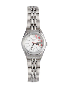 Seiko White/Red/Silver Ladies' Metal Band Watch