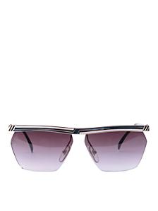 Vintage Jacques Fath Teal/White/Black Angular Sunglasses
