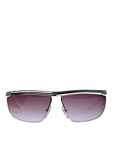 Vintage Jacques Fath Teal/White Angular Sunglasses