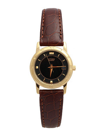 Citizen Black/Charcoal/Gold Ladies' Leather Band Watch
