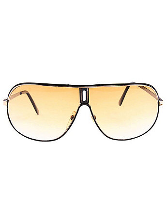 Vintage Wraparound Tan Aviator Sunglasses