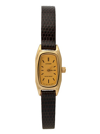 Citizen Gold/Dark Brown Ladies' Leather Band Watch