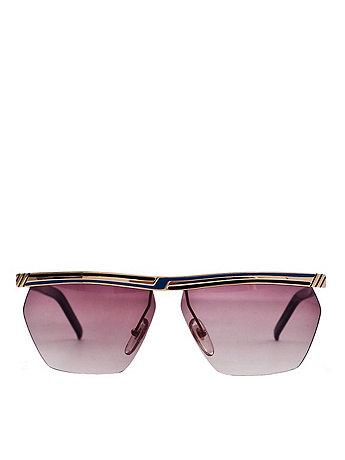 Vintage Jacques Fath Blue/Black Angular Sunglasses
