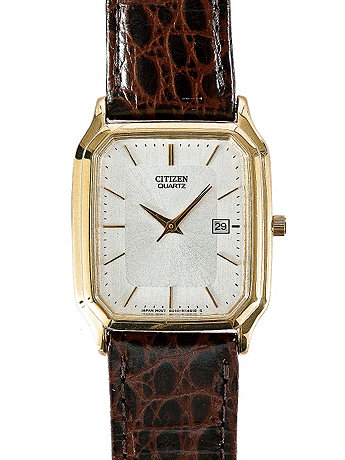 Citizen Silver/Gold Leather Band Watch