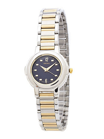 Seiko Navy/Silver/Gold Ladies' Metal Band Watch