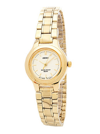 Seiko Textured Crème/Gold Ladies' Metal Band Watch