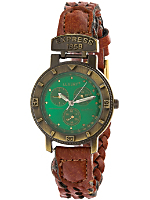 Vintage Green/Brass Braided Leather Watch