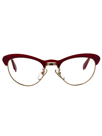 Vintage Le Club Optique Red Mother of Pearl Browline Eyeglasses