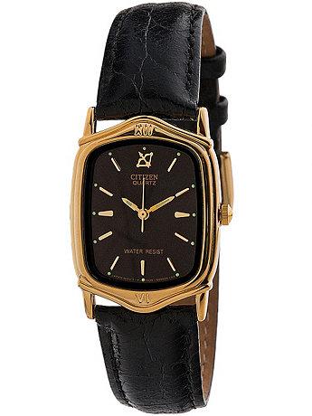 Vintage Citizen Rectangular Black/Gold Leather Band Watch