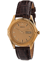 Vintage Seiko Galaxy Gold Leather Band Watch