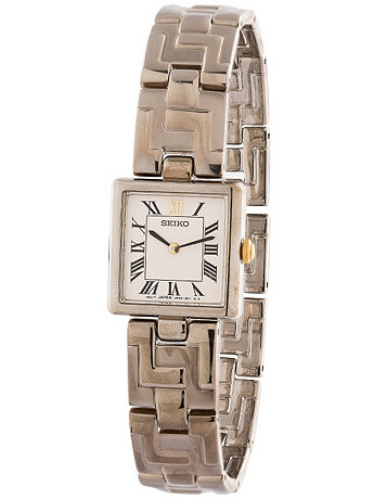 Seiko Square Roman Numerals Ladies' Metal Band Watch